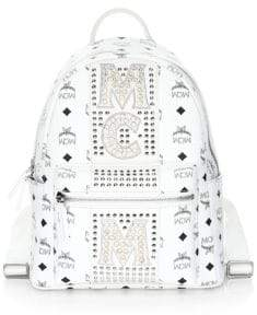 MCM Stark Stud Stripe Coated Canvas Backpack
