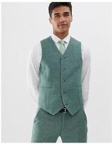 Asos DESIGN wedding super skinny suit vest in green wool blend mini check