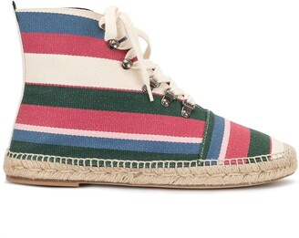 Loewe Striped-Canvas Espadrille Boots