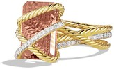 David Yurman Cable Wrap Ring with Faceted Morganite & Diamonds in 18K Gold