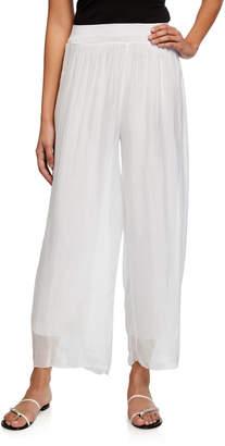 Moda Seta Sheer Overlay Flare-Leg Pleated Soft Pants