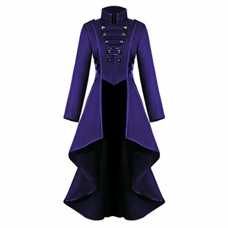 Saihui Women Coats & Jackets Womens Coat Autumn Winter Jackets Steampunk Vintage Gothic Victorian Medieval Tailcoat Ladies Army Military Jacket Lapel Long Trench Coats Blazer Fashion Halloween Cosplay Outwear (Purple 2XL)