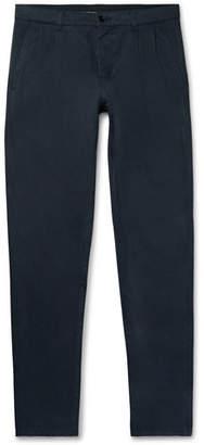 Aspesi Navy Pleated Cotton-Gabardine Trousers