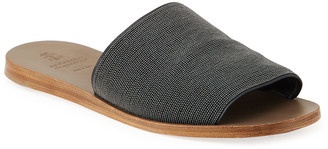 Brunello Cucinelli Monili Flat Slide Sandals