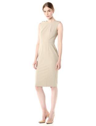 Donna Morgan Women's Stretch Crepe Shoulder Epaulette Sheath Dress