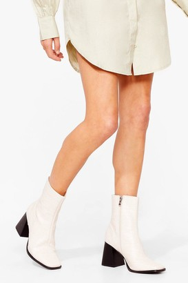Nasty Gal Womens For All We Flare Croc Heeled Boots - Tan - 3