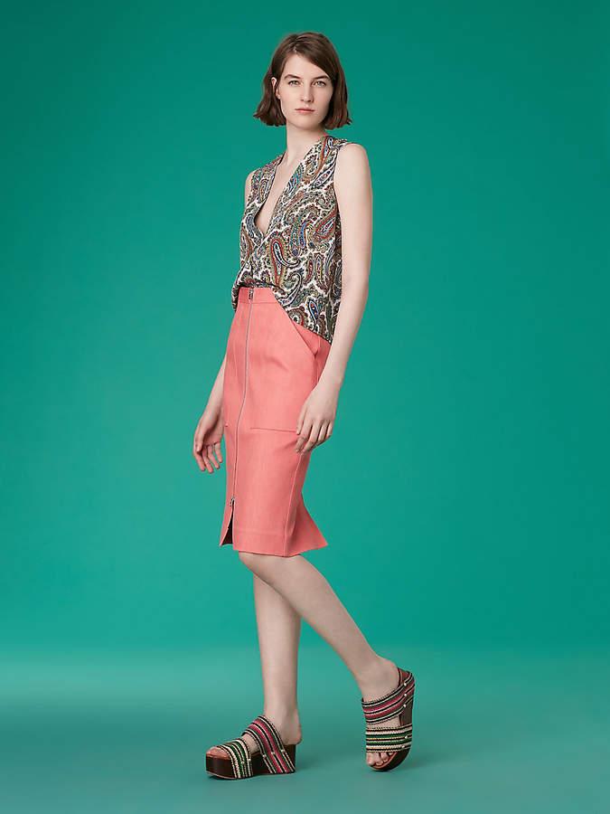 Diane von Furstenberg Patch Pocket Denim Skirt