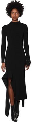 Off-White Off White Asymmetric Viscose Blend Rib Knit Dress