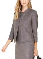 Anne Klein Tweed Band-Collar Jacket