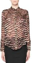 Tom Ford Animal-Print Silk Blouse, Multi