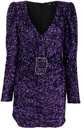 Amen Long-Sleeved Sequin Short Dress