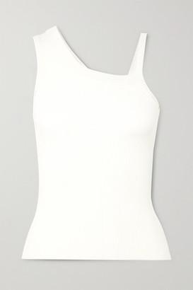 Peter Do Asymmetric Ribbed Jersey Tank - White