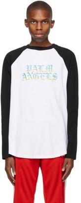 Palm Angels White and Black Hue Gothic Logo Long Sleeve T-Shirt