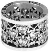 King Baby Studio Sterling Silver CZ Heart Patterned Ring