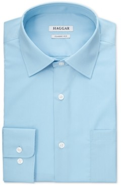 Haggar Men's Solid Turquoise Dress Shirt