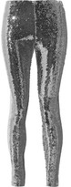Isabel Marant Izard Metallic Sequined Crepe Leggings