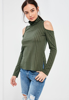 Missguided Khaki Ribbed Cold Shoulder Tunic