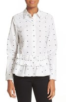 McQ by Alexander McQueen Women's Embroidered Swallow Peplum Shirt