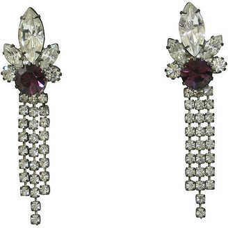 One Kings Lane Vintage 1960s Amethyst Crystal Earrings - Wisteria Antiques Etc