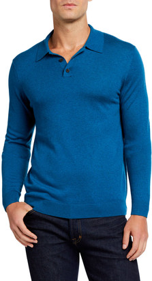 Neiman Marcus Men's Cashmere/Silk Long-Sleeve Polo Sweater