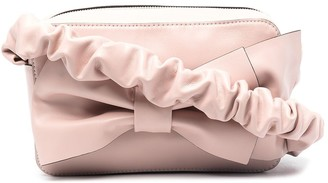 Red(V) Bow-Detail Ruched-Strap Crossbody