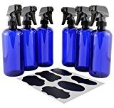 16oz Cobalt Blue Plastic Spray Bottles with Heavy Duty Mist & Stream Sprayers and Chalkboard Labels (6-pack); PET #1 BPA-free, Use for Aromatherapy, DIY Cleaning, Kitchen, Hair Etc