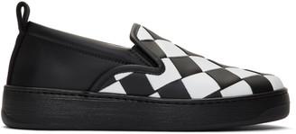 Bottega Veneta White and Black Maxi Intrecciato Slip-On Sneakers