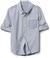 Mix-gingham convertible shirt