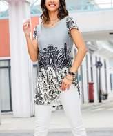 Reborn Collection Women's Tunics GRAY - Gray & White Abstract Boyfriend Tunic - Women & Plus