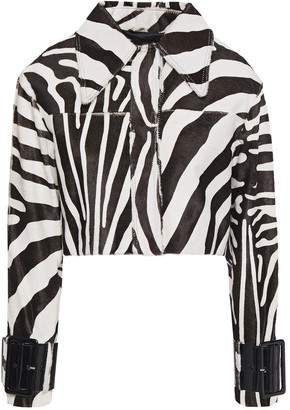 16Arlington Patent Leather-trimmed Zebra-print Calf Hair Jacket