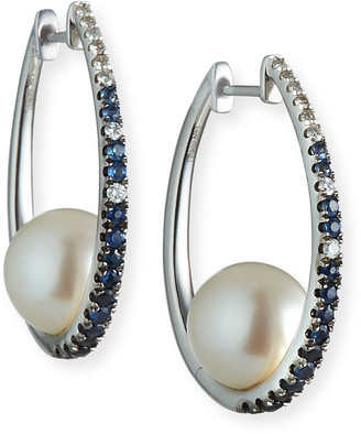 Siena Jewelry Gradient Blue Sapphire Pearl Earrings