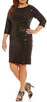 Vince Camuto Plus Sequin Knit Sheath 3/4 Sleeve Dress