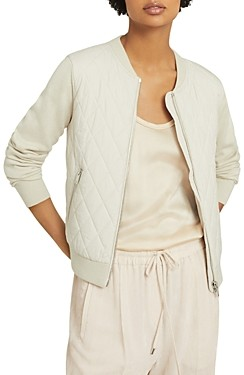 Reiss Ayla Quilted Knit Sleeve Bomber Jacket