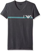 Emporio Armani Men's Pop Stripe Eagle V-Neck T-Shirt