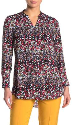 Nanette Lepore NANETTE Ditsy Floral Pintuck Button Front Tunic Shirt