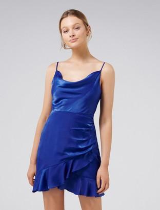 Forever New Fifi Petite Cowl Neck Wrap Frill Mini Dress - Cobalt/Blue - 4