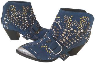 Zadig & Voltaire Cara Blue Suede Ankle boots