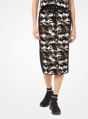 MICHAEL Michael Kors Camouflage Stretch-Viscose Jacquard Skirt