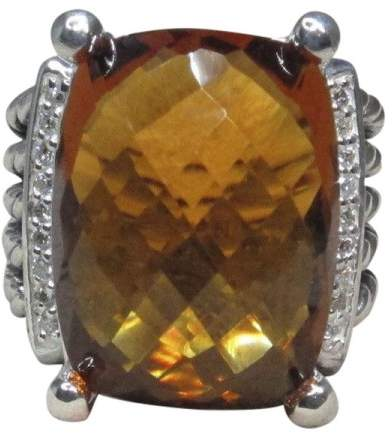 David Yurman Sterling Silver with Citrine and Diamond Ring Size 6.5