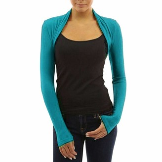 WearAll Womens Plus Size Plain Long Sleeve Cropped Ladies Shrug Bolero Cardigan Top