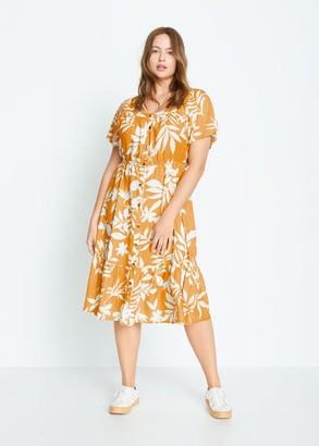 MANGO Violeta BY Tropical print dress yellow - 10 - Plus sizes