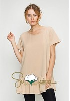 B-Sharp Collection Supima Cotton Top Casual Short Sleeve Tunic Ruffle Bottom.