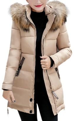 HARRYSTORE Women's Down Coat Jacket with Faux Fur Trim Hood Down Padded Long Winter Warm Parka Puffer Jacket Outwear (XL