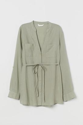 H&M MAMA Linen Blouse - Green