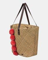 Roxy Pretty Love Pom Pom Straw Tote Bag