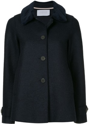 Harris Wharf London Loden faux fur trimmed jacket