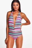 Boohoo Brazil Foil Stripe Deep Plunge Swimsuit