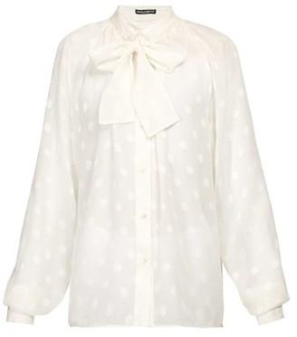 Dolce & Gabbana Pussy-bow Fil-coupe Silk-chiffon Blouse - Womens - White