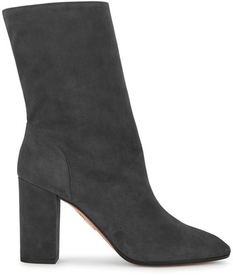 Aquazzura Boogie 85 dark grey suede ankle boots