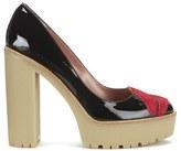 RED Valentino Women's Lips Front Platform Heels Black